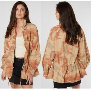 Free People Lead The Way Pink Camo Jacket Small